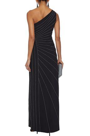 HALSTON HERITAGE One-shoulder metallic-trimmed crepe gown