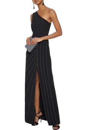 HALSTON HERITAGE One-shoulder metallic-trimmed crepe gown