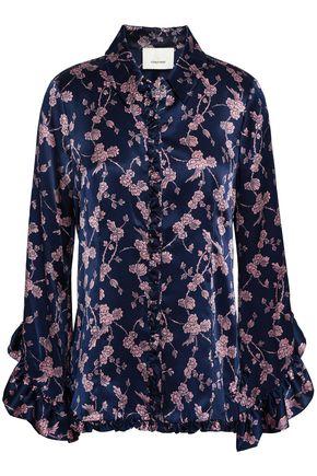 CINQ À SEPT Ruffle-trimmed floral-print silk-satin blouse