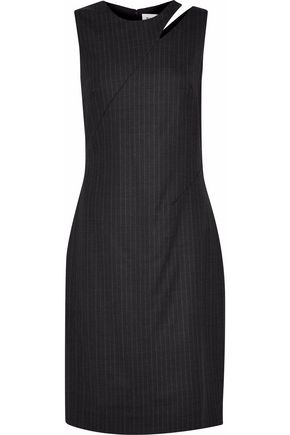 MILLY Cutout pinstriped wool-blend dress