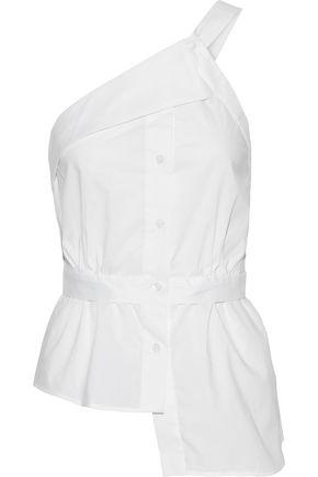 MILLY Jill one-shoulder asymmetric cotton-poplin top