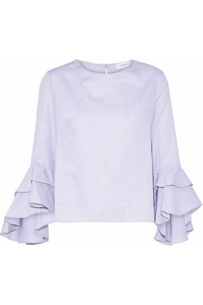 MILLY Gabby ruffled cotton top