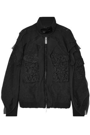 SACAI Velvet-trimmed chiffon and lace bomber jacket