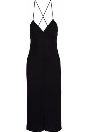 MILLY Bias silk-blend midi slip dress