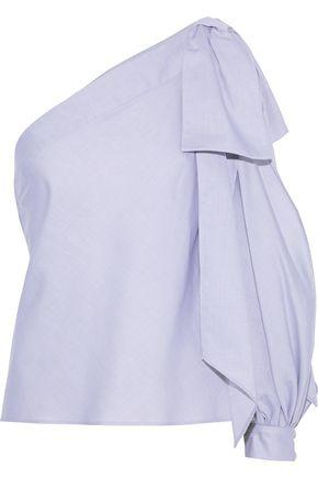 MILLY Nina one-shoulder bow-embellished cotton-poplin top