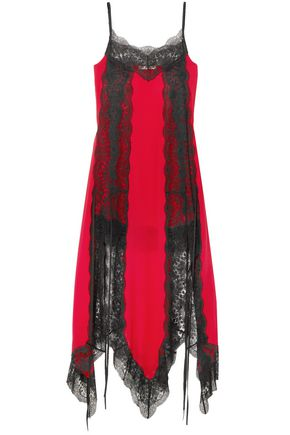 CHRISTOPHER KANE Lace-trimmed silk-chiffon dress
