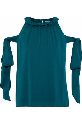 0b974230be710 MILLY April cold-shoulder bow-detailed stretch-silk blouse