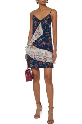 LOVE SAM Crochet-trimmed floral-print chiffon mini dress