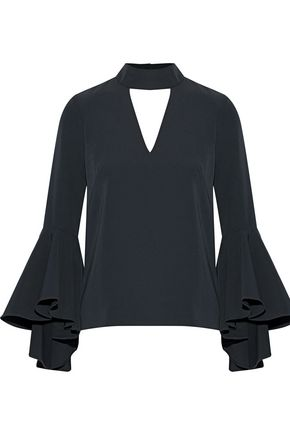 MILLY Andrea fluted cutout stretch-cady top