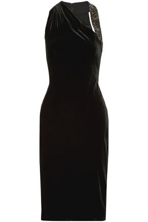 CUSHNIE Willa embellished velvet dress