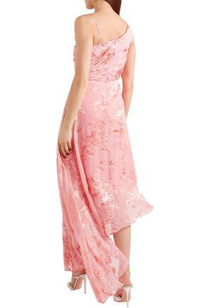 PREEN by THORNTON BREGAZZI Elenora asymmetric devoré silk-blend chiffon and crepe de chine dress