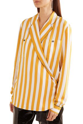 MAISON MARGIELA Striped crepe wrap blouse