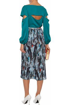 1a86d51c1bf20 ... MILLY Dahlia cutout stretch-silk blouse