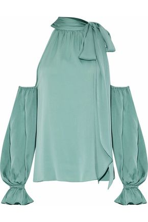 MILLY Viola cold-shoulder stretch-silk blouse