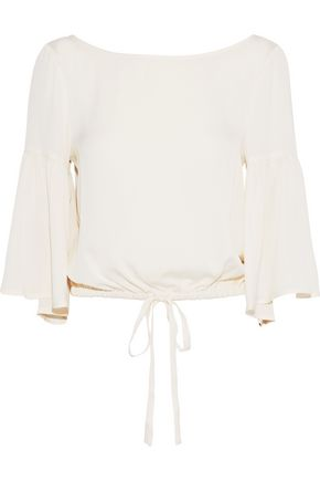 MILLY Lydia bow-detailed stretch-silk blouse