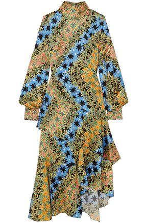 ANCIENT GREEK SANDALS x PETER PILOTTO Asymmetric printed silk-jacquard midi dress