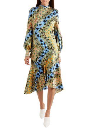 PETER PILOTTO Asymmetric printed silk-jacquard midi dress
