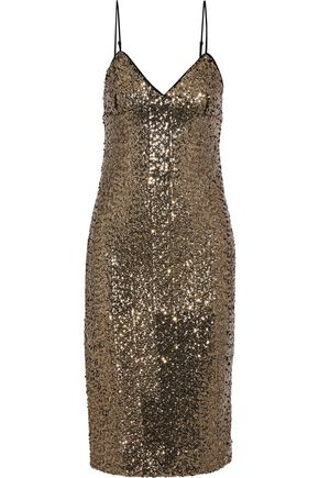 MILLY Alexis sequined tulle slip dress