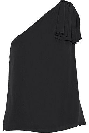 MILLY Cindy one-shoulder bow-embellished stretch-silk top