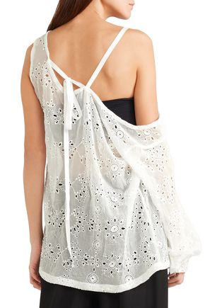 ANN DEMEULEMEESTER Asymmetric broderie anglaise silk-blend top