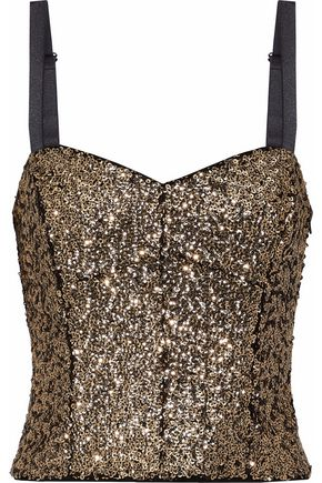 MILLY Sequined satin bustier top