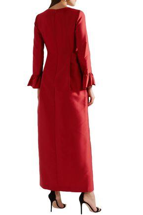 MERCHANT ARCHIVE Pleated taffeta maxi dress