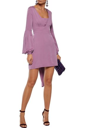 Milly Woman Kayla Gathered Stretch-Silk Mini Dress Lavender