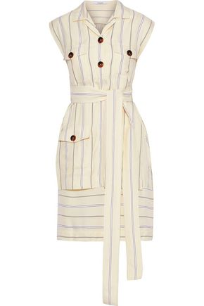 DEREK LAM 10 CROSBY Layered striped jacquard mini shirt dress