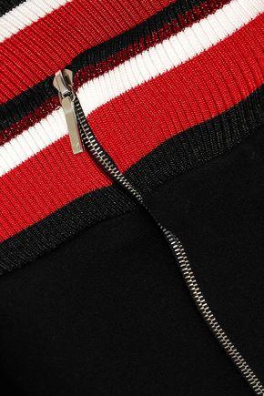 MUGLER Off-the-shoulder striped stretch-jersey mini dress
