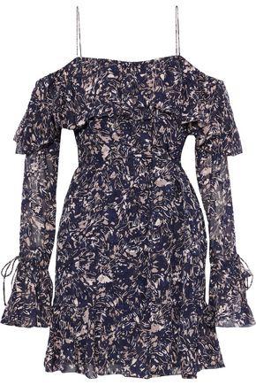 DEREK LAM 10 CROSBY Cold-shoulder printed fil coupé silk and cotton-blend mini dress
