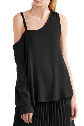 ANN DEMEULEMEESTER Cold-shoulder crepe de chine top