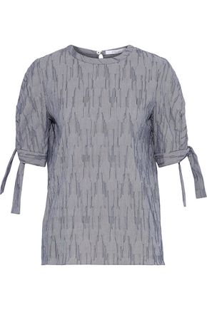 DEREK LAM 10 CROSBY Striped textured cotton-blend poplin top