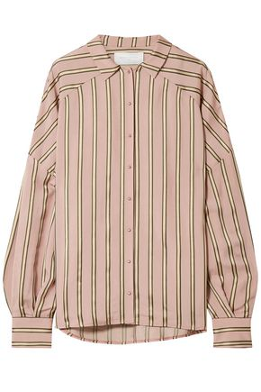 ESTEBAN CORTAZAR Volume oversized striped satin shirt