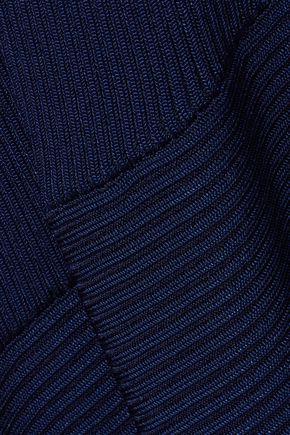 MUGLER Asymmetric ribbed-knit midi dress