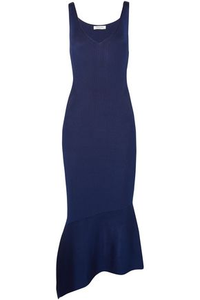 MUGLER Asymmetric ribbed-knit midi dress