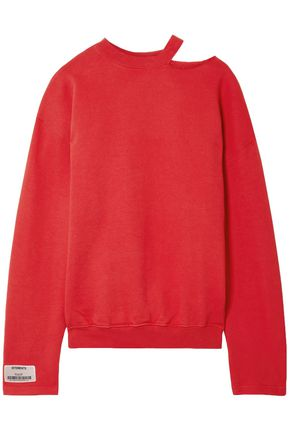 VETEMENTS Cutout French cotton-blend terry sweatshirt