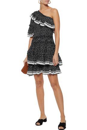 LOVE SAM One-shoulder ruffled floral-print crepe mini dress