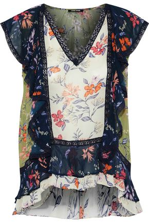 LOVE SAM Ruffled floral-print chiffon blouse