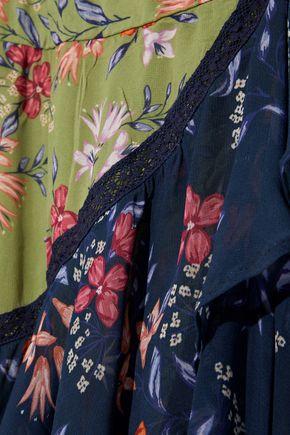 LOVE SAM Lace-trimmed ruffled floral-print chiffon wrap dress