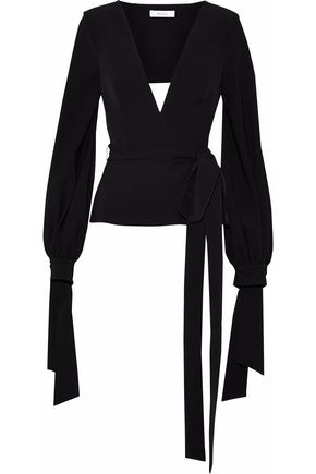 MILLY Abby open-back belted stretch-crepe top