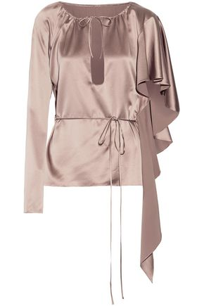 JUAN CARLOS OBANDO Ruffled silk-satin top