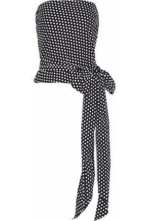 MILLY Strapless polka-dot cotton-blend poplin top