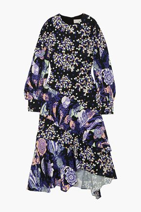 PETER PILOTTO Ruffled printed silk midi dress