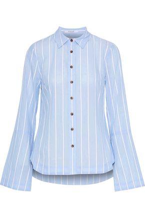 DEREK LAM 10 CROSBY Striped terry-trimmed cotton-blend shirt