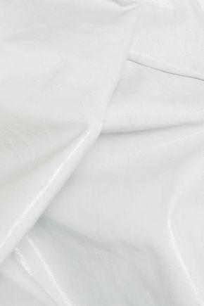 RICK OWENS Elipse draped coated denim halterneck dress