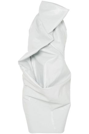 RICK OWENS Elipse draped coated denim halterneck dress