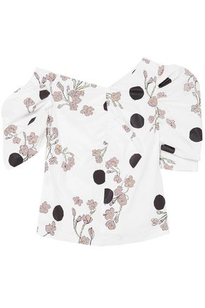 ISA ARFEN One-shoulder ruched printed cotton-poplin blouse