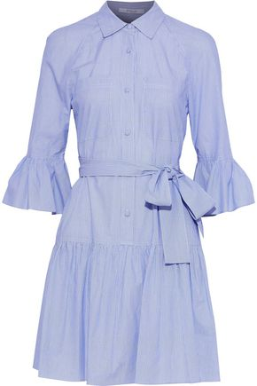 DEREK LAM 10 CROSBY Belted printed cotton-poplin mini shirt dress
