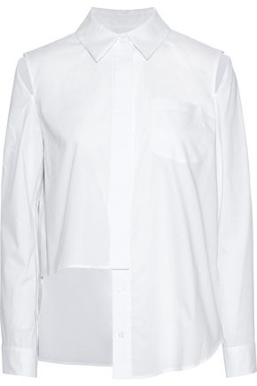MILLY Cassie asymmetric cutout cotton-poplin shirt