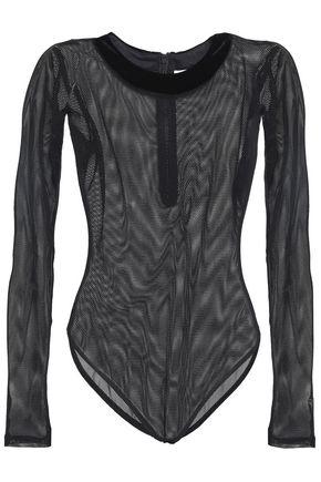 ALIX Velvet-trimmed mesh bodysuit